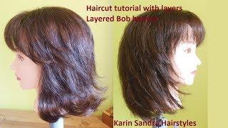 Long Layered Haircut Tutorial | Medium Long Length Layered Bob Haircut | Medium Hair