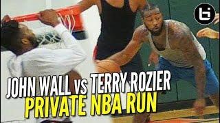 John Wall vs Terry Rozier BATTLE In Private NBA Run in Miami!! Derrick Jones Puts Face on Rim!!
