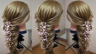 Вечерняя причёска из косы  Текстурная коса  Видео урок  Hair tutorial  Курс плетения кос