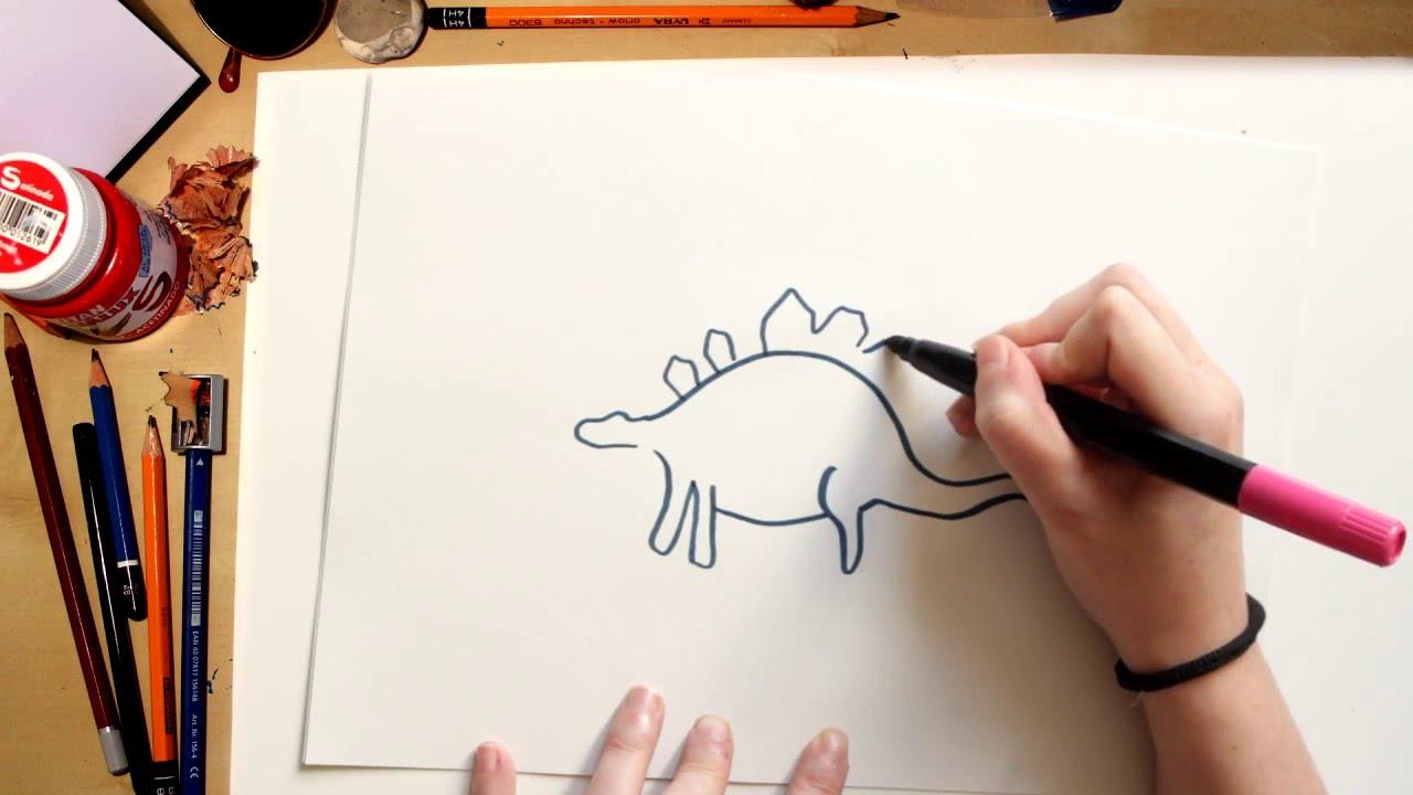 Como dibujar un Stegosaurus - dibujos de dinosaurios para niños