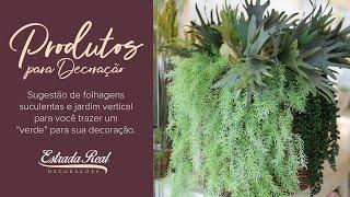Sugestão de jardim vertical, suculentas e folhagens artificial.