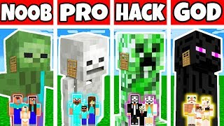 Minecraft: FAMILY MONSTER MUTANT BUILD CHALLENGE - NOOB vs PRO vs HACKER vs GOD in Minecraft