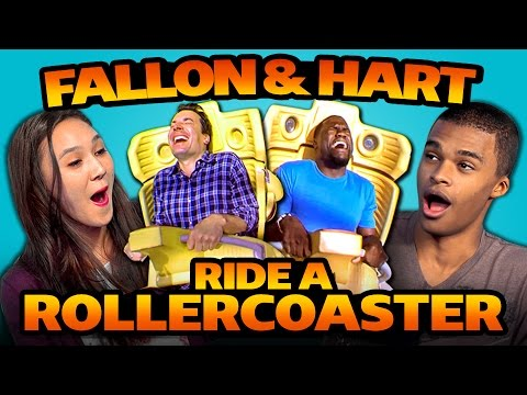 Teens React to Jimmy Fallon and Kevin Hart Ride A Roller Coaster (видео)