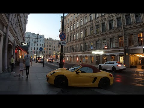 Russia, Walking in Saint-Petersburg, Rubinstein Street, White night 4K.