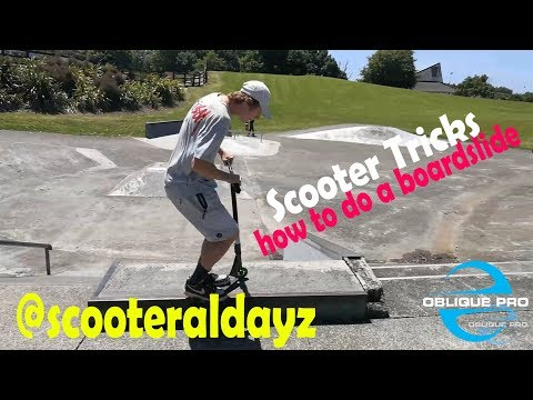 How to do a boardslide trick on a Scooter (Scooter Tutorial)