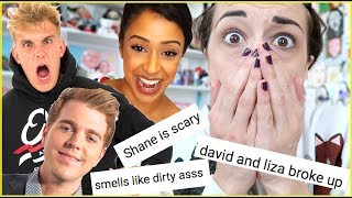 READING FAMOUS YOUTUBERS HATE COMMENTS