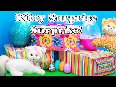 KITTY SURPRISE Surprise Eggs Kitty Surprise with Puppy in Pocket and Minnie Figaro Surprise Egg Vide