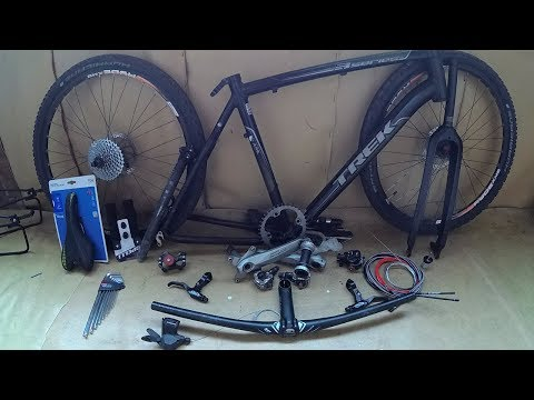 Сборка велосипеда по запчастям с нуля Trek Вилка карбон тормоз копия BB7