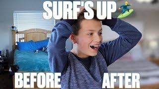 SURF THEMED BOYS BEDROOM EXTREME MAKEOVER REVEAL   NEW ROOM REMODEL SURPRISE   BEFORE AND AFTER