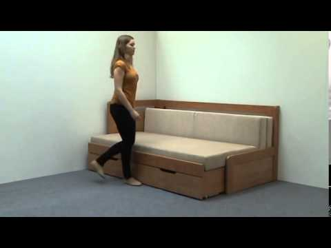 Video BMB Postel Tandem KLASIK s levou područkou - imitace dřeva Dekor: Bílá, Provedení: rovné, Rozměr: 90/180 x 200 cm 2