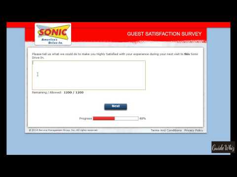 www.talktosonic.com -- Sonic Customer Satisfaction Survey