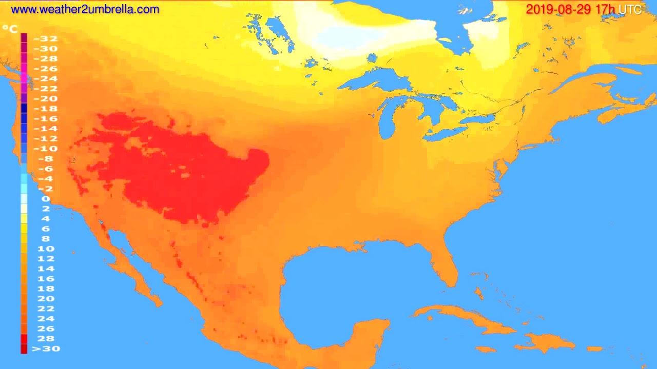 Temperature forecast USA & Canada // modelrun: 00h UTC 2019-08-28