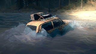НИВА едет по грязи и переправа через реку! - Spintires: MudRunner