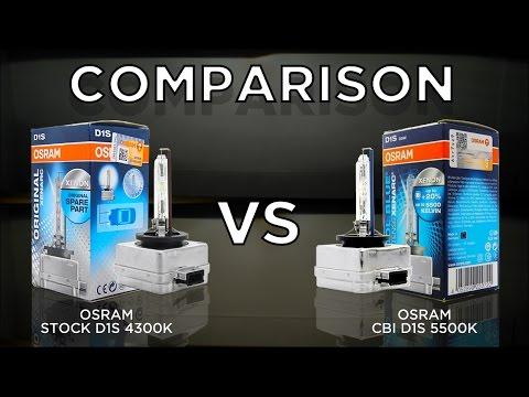 OSRAM 4300K OEM D1S vs. OSRAM 5500K CBI (Cool Blue Intense) D1S Bulbs by using Valeo D1 Projector.