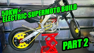 50KW ELECTRIC SUPERMOTO MX BUILD [EP 2]  MOTOR RUNS!