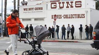 video: Watch: Queues outside gun shops as Americans panic buy firearms over Coronavirus worries