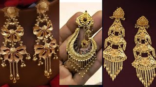 Gold Long Earrings Design With Weight And Price //latest Fancy Gold Earring