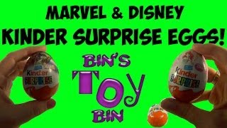 Opening Marvel & Disney Princesses Kinder Surprise Eggs From Vanessa! By Bin's Toy Bin