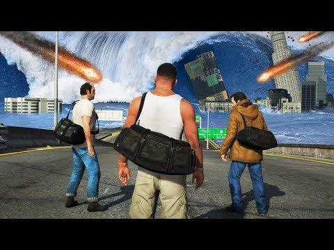 GTA 5 - Franklin, Michael & Trevor in a Natural Disaster! (Meteors, Tsunami & More)