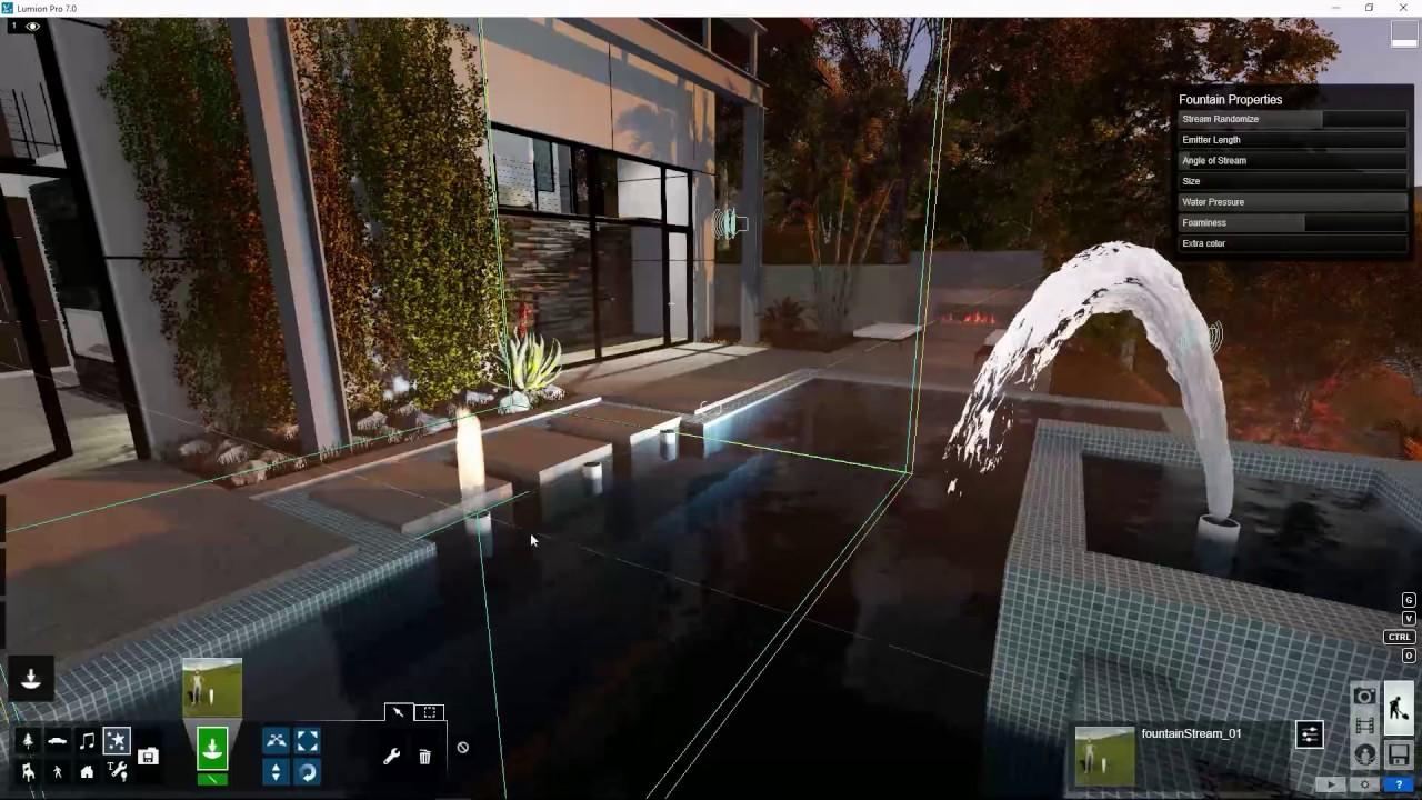 編集モード:噴水の効果を追加(Lumion7 series)