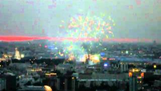 """Fireworks in Moscow. View from the """"City Space Bar & Lounge"""""""