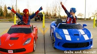 Power Wheels Racing - Spiderman vs Captain America Full Race HD!