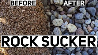 The Fastest and Easiest Way to Clean Landscape Rocks! The Mighty Pine Needle Vacuum!
