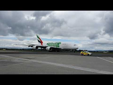 Emirates A380 green expo taxiing to runway 23 at Glasgow airport 19/06/2019.