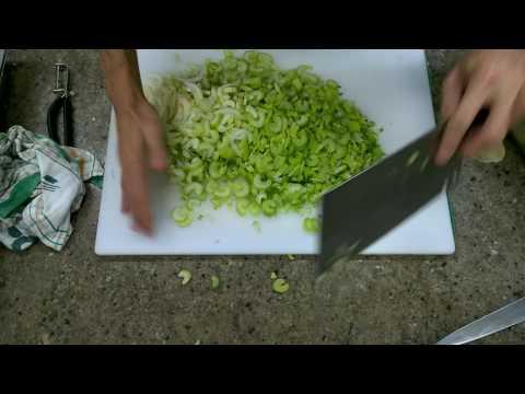 Tojiro F-631 Chinese cleaver chopping veg for stock