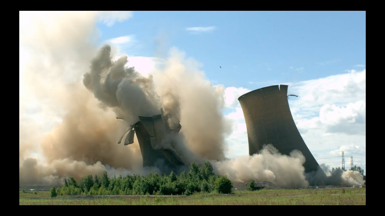 Watch Five Huge Power Plant Towers Collapse In Slow Motion