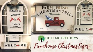 Dollar Tree Christmas DIY Farmhouse Signs|Red Truck Christmas Decor