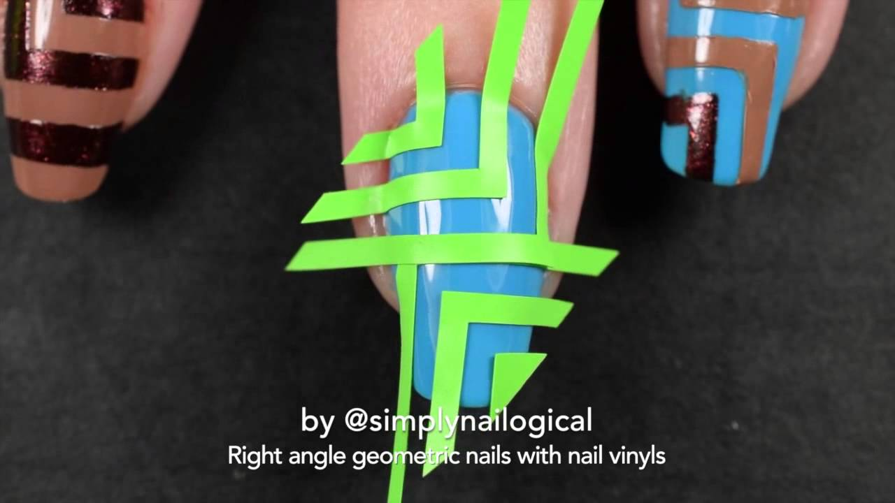 Blue & brown right angle nail art using nail vinyls - inspired by Bath & Body Works thumbnail