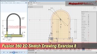 Fusion 360 2D Sketch Drawing | Practice Tutorial | Exercise 8