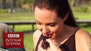 Анджелина Джоли с детьми ест пауков