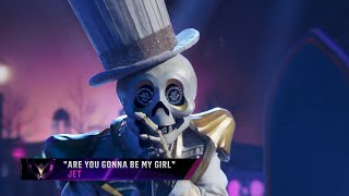 """Skeleton sings """"Are You Gonna Be My Girl"""" by Jet 