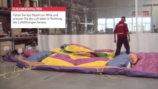 Aufbauanleitung Fun Action Games no problaim aufblasbare Hüpfburg Bullriding Torwand Bungeerun
