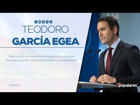 """Teodoro García Egea: """"Estamos con un Gobierno en funciones que no funciona"""