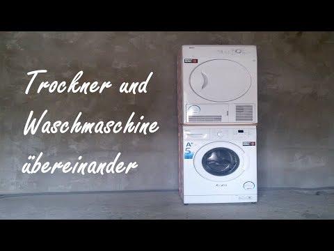 Waschmaschine und Trockner übereinander