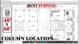 40x60 Commercial  & Apartment Plan With Column Location