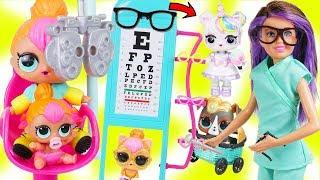 Custom LOL Surprise Dolls Visit Skipper Barbie Eye Doctor with Unicorn Lil Luxe + BIG Customized DIY