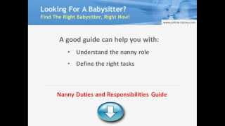 Nanny Duties and Responsibilities Guide - 2014 Update