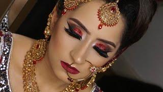 Real Bride | Modern Traditional Asian Bridal Makeup | Red Glittery Smokey Eyes