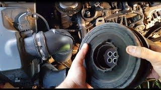 BMW, E91, 320D, N47 Defekter Schwingungsdämpfer wechseln und Keilriemen wechseln Crankshaft Pulley