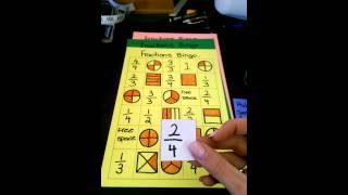 Fractions Bingo card game