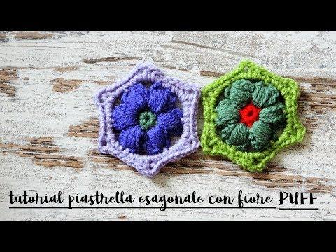 Piastrella Uncinetto Esagonale Con Fiore 3d смотреть онлайн на Hah