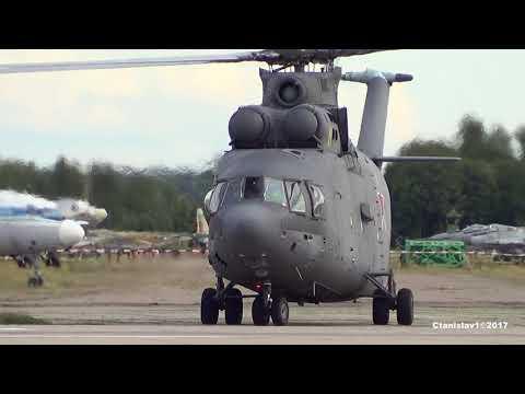 МИ-26 Запуск. Взлетает как самолет с разбегом. Кубинка. Армия-2017 видео