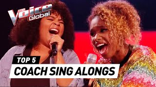 SURPRISING Coach SING ALONGS during the Blind Auditions in The Voice