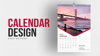 Calendar Design 2020 | How To Make Calendar In Illustrator Tutorial | Create Wall Calendar | #MH