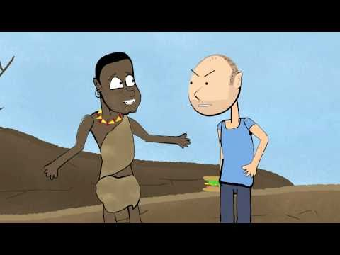 Karl Pilkington argues with a starving African