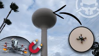 We Stuck a Drone on a Water Tower! - MAGNET DRONE!!
